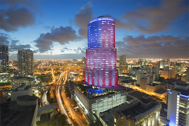 Miami Tower reduces carbon emissions by 1.2 pounds with new LED exterior lights & Miami Tower Adds Dramatic Twist to the City Skyline with New LED ... azcodes.com