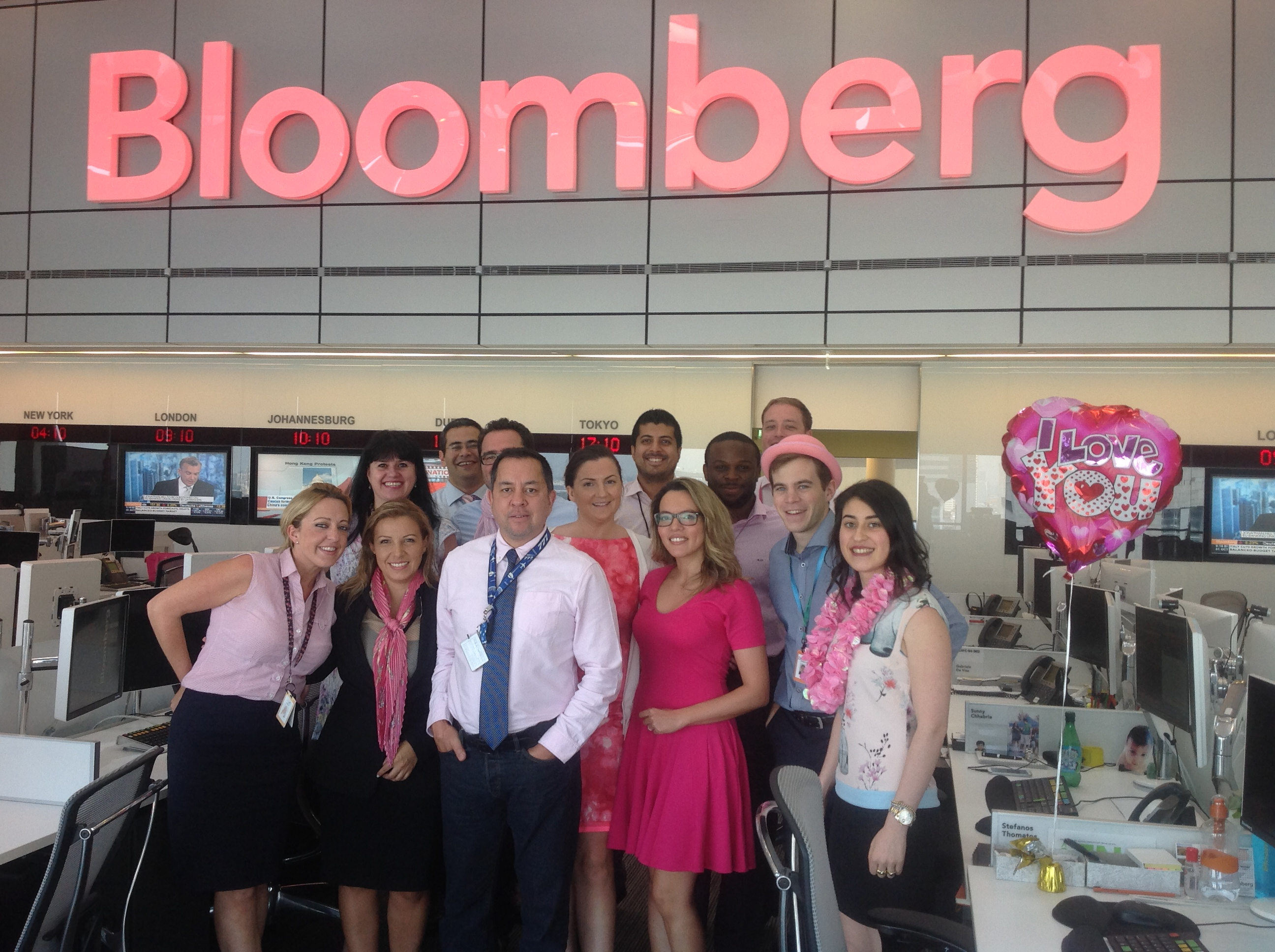 Bloomberg Supports Breast Cancer Awareness at Global Offices
