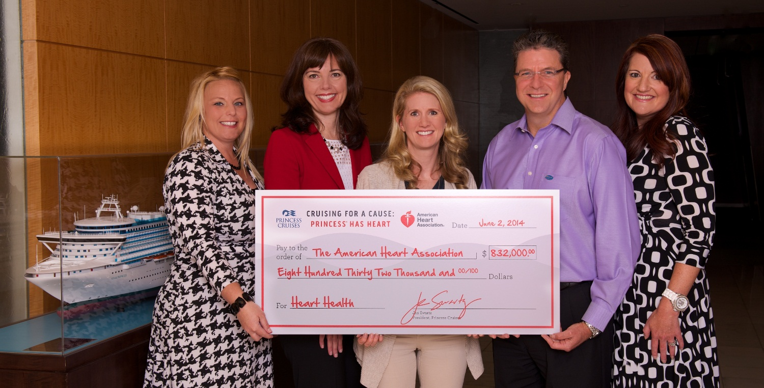 princess cruises presents $832,000 donation to american heart, Powerpoint templates
