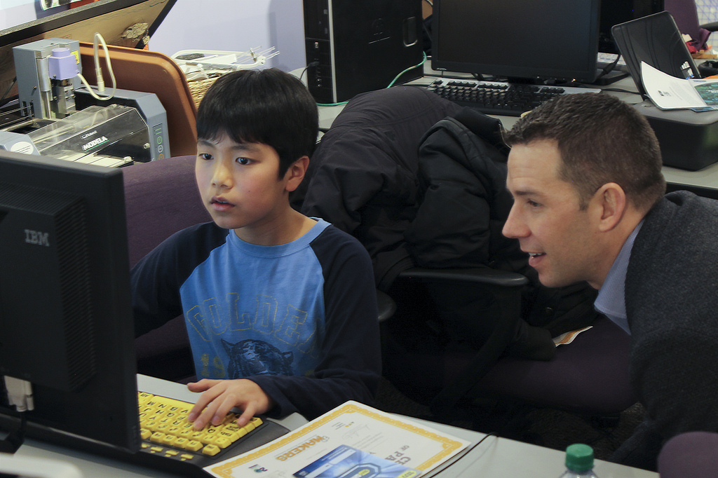 Brook Colangelo, Chief Information Officer, HMH, and Anthony, 11, Flagship  Computer Clubhouse at the Museum of Science, Boston