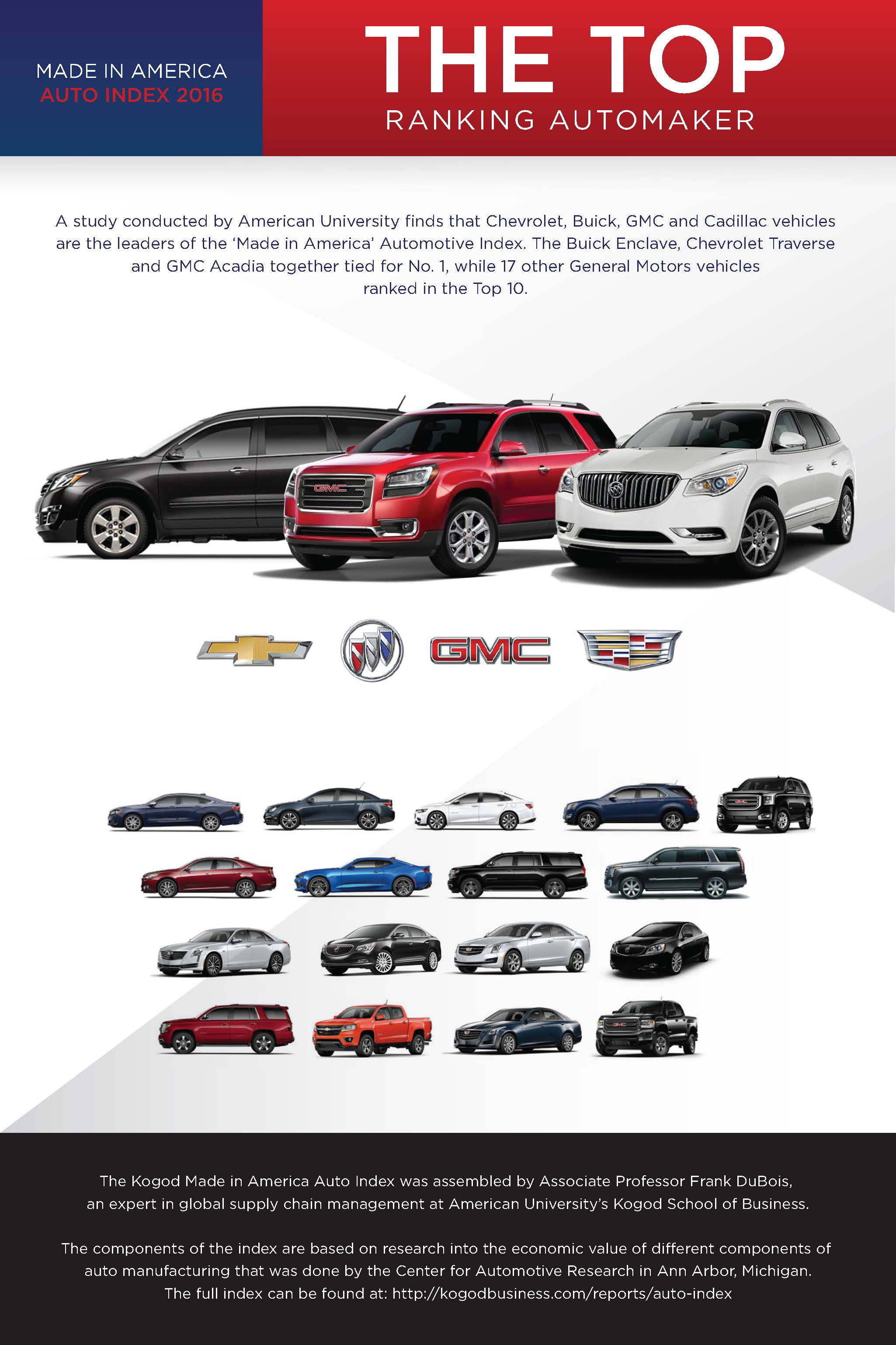 GM Dominates the Top 10 in Study of Most American-Made Vehicles ...