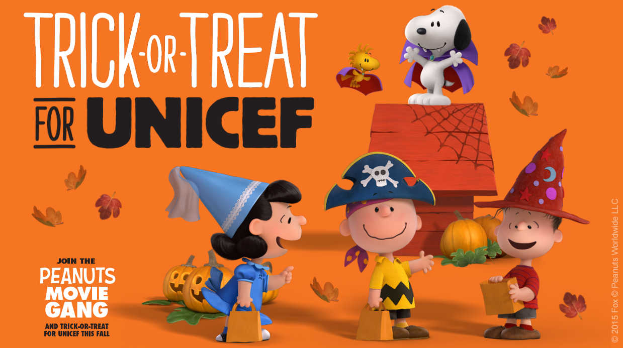 foxs peanuts movie characters to encourage kids to trick or treat for unicef