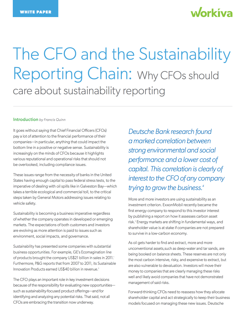 White Paper: The CFO and the Sustainability Reporting Chain